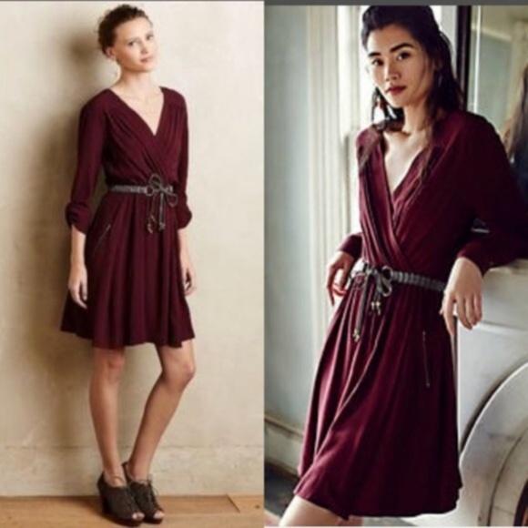 5af9fb97d76ff Anthropologie Dresses | Maeve Burgundy Lene Faux Wrap Dress | Poshmark